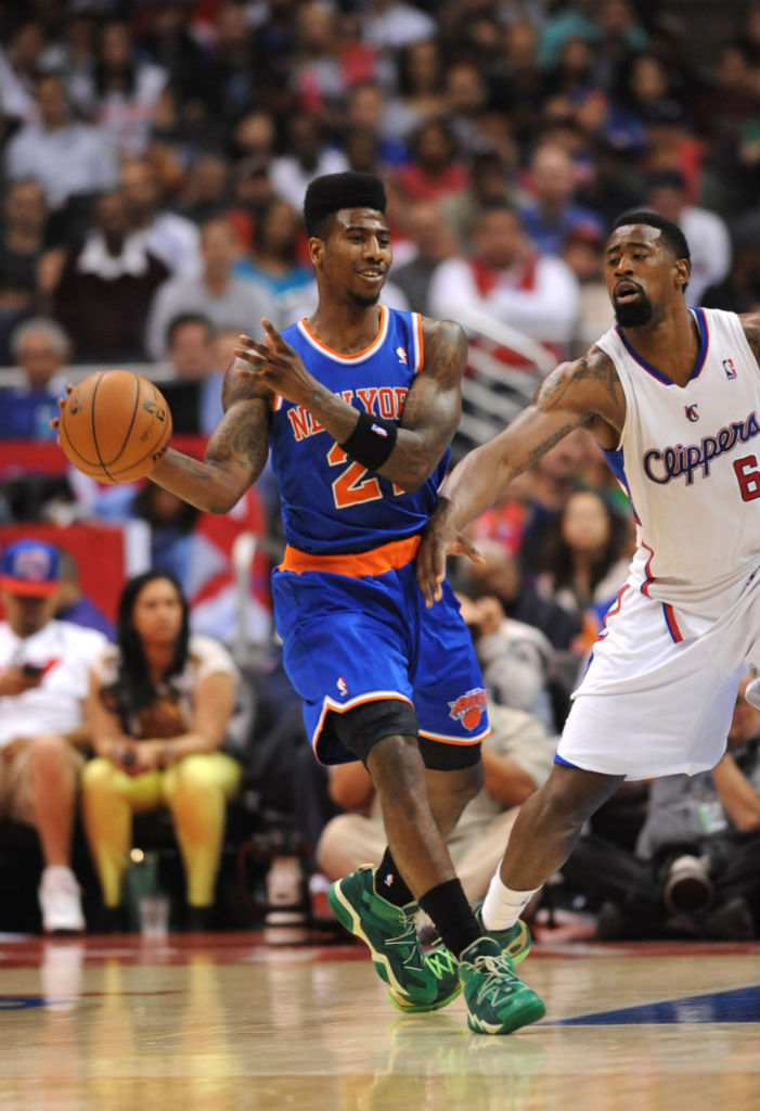 Iman Shumpert wearing adidas Top Ten 2000 Vivid Green