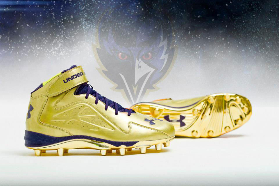 Under Armour's Golden Commemorative Super Bowl Cleats For Ray Lewis (1)