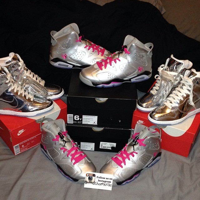 Erica Mena Picks Up Air Jordan 6 Valentine's Day, Nike Dunk Sky High Liquid Metal