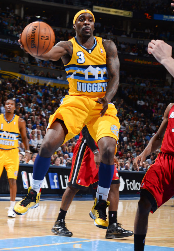 Ty Lawson wearing Nike LeBron 9 PS Elite Taxi; LeBron James wearing Nike LeBron X Carbon
