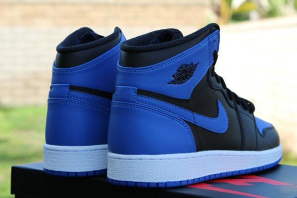 blue and black air jordan 1