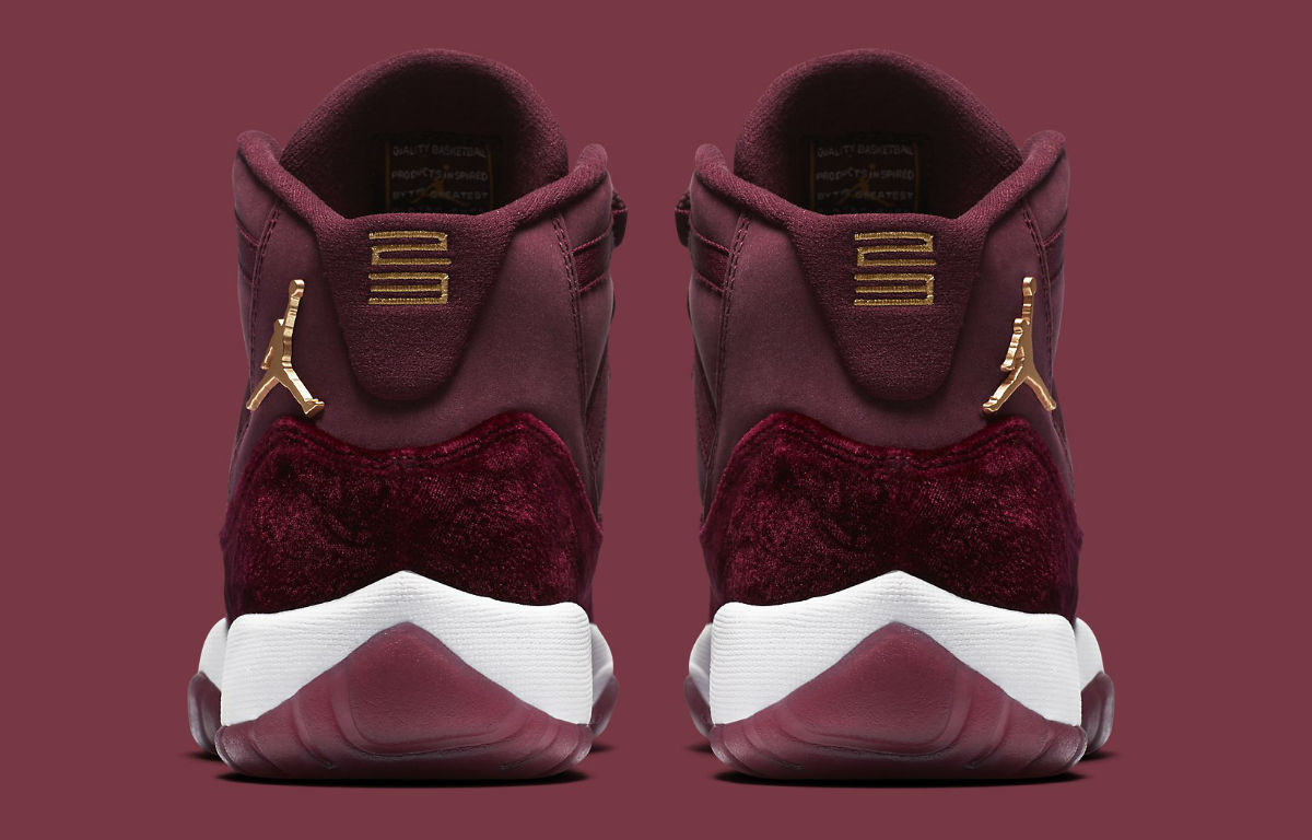 Air Jordan 11 GG Red Velvet Heiress Release Date Heel 852625-650