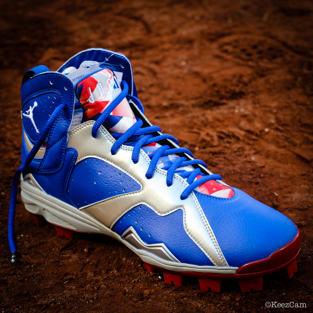 Air Jordan 7 Carl Crawford Dodgers PE Cleats (1)