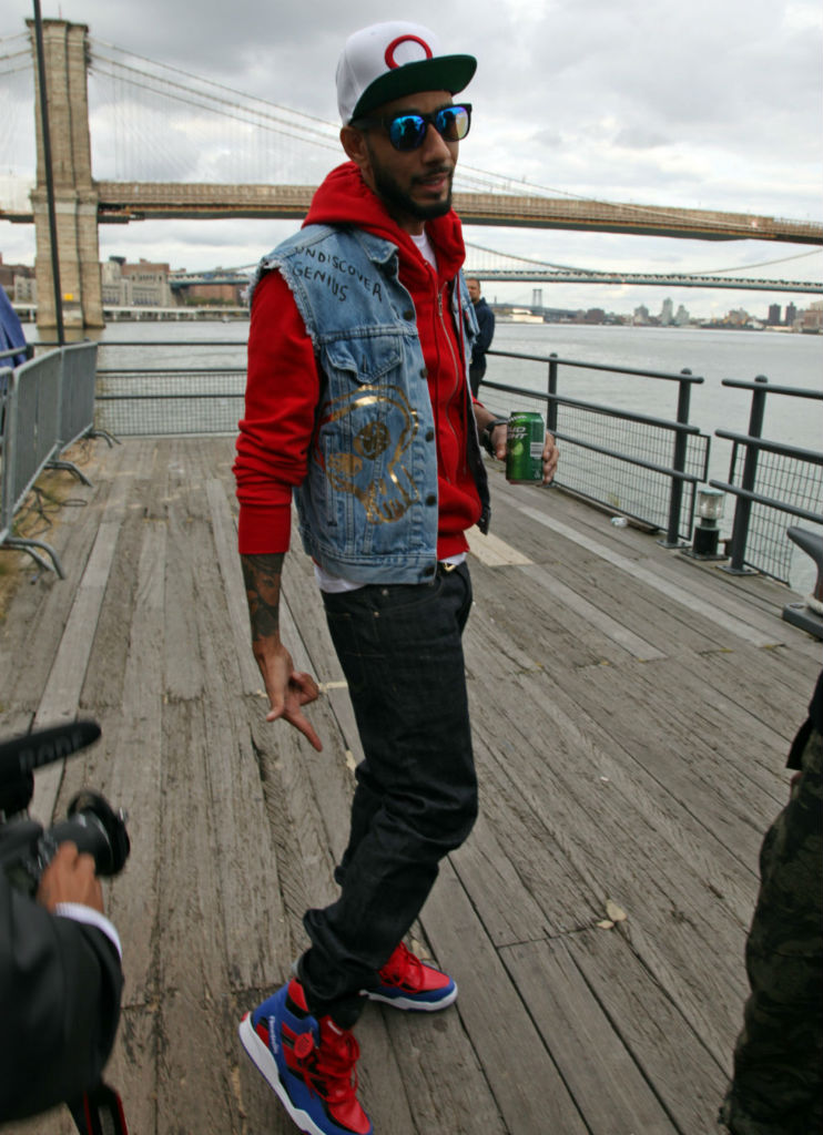 Swizz Beatz wearing Reebok Twilight Zone Pump Spider Man (@)
