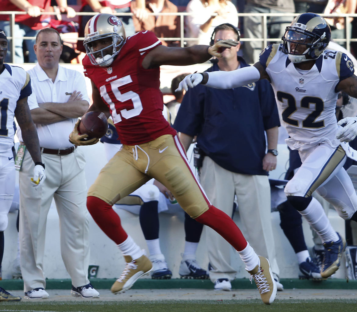 Michael Crabtree wearing Air Jordan 12 49ers Gold PE Cleats (5)