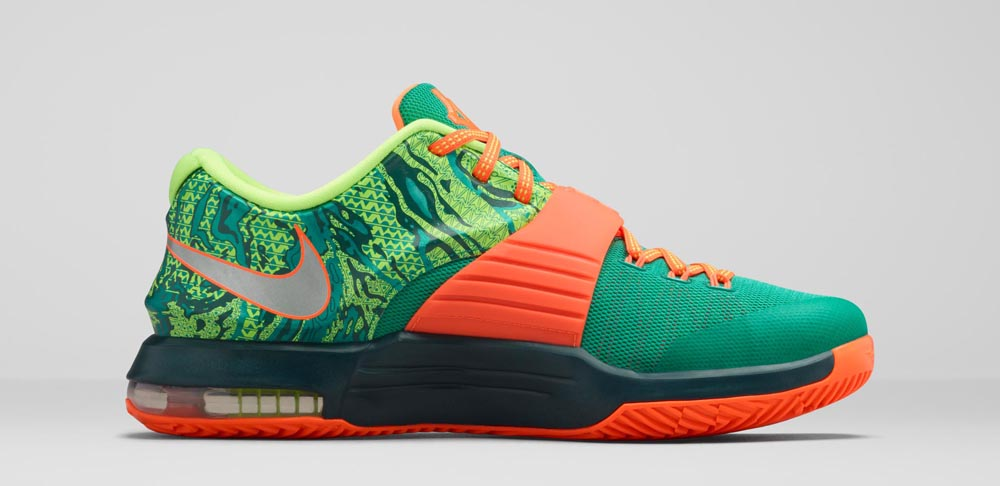 e2d9721b7c8 Nike KD 7  Weatherman  Release Date  03 05 15. Color  Emerald  Green Metallic Silver-Dark Emerald-Total Orange Style    653996-303. Price    150