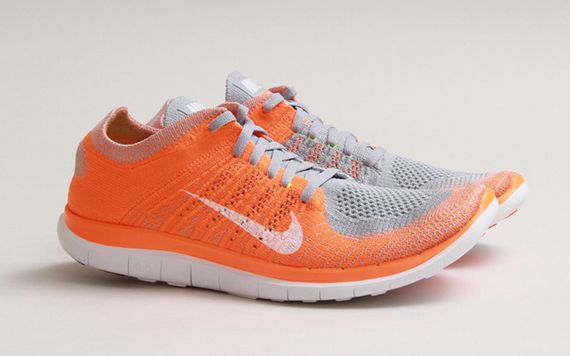 The Wolf Grey/Total Orange Nike Free Flyknit 4.0 is set to release  tomorrow, May 1st at select retailers such as CNCPTS.