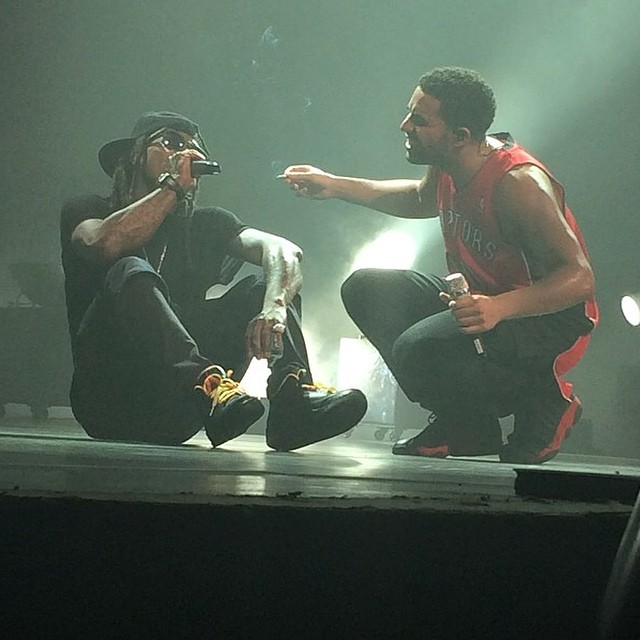 Drake wearing Air Jordan XIII 13 Bred; Lil' Wayne wearing Air Jordan III 3 PE
