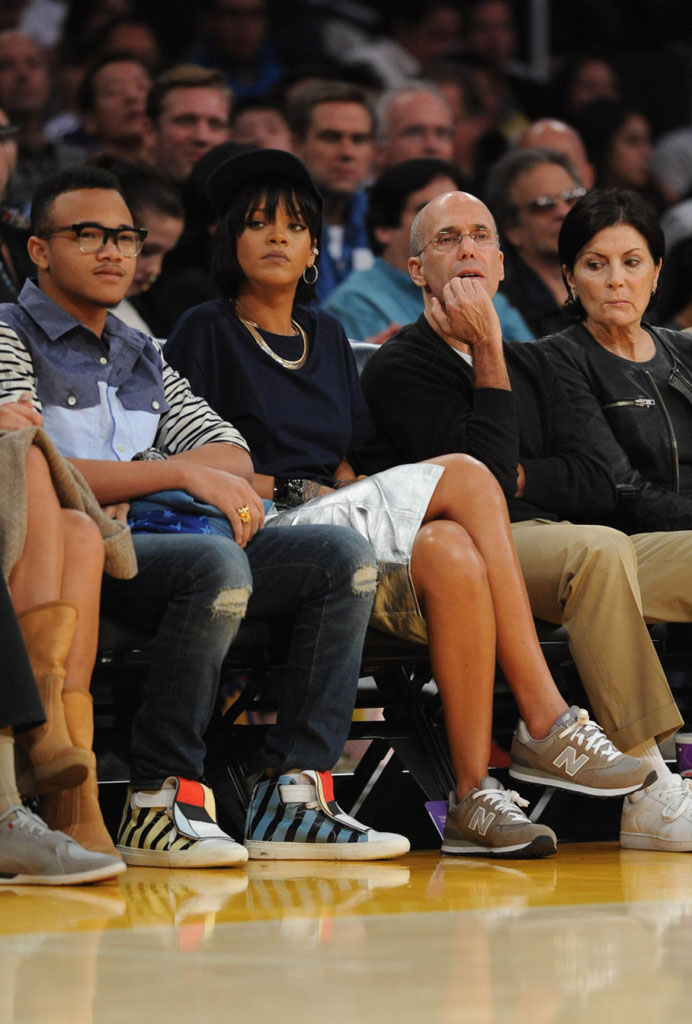 Rihanna wearing New Balance 574