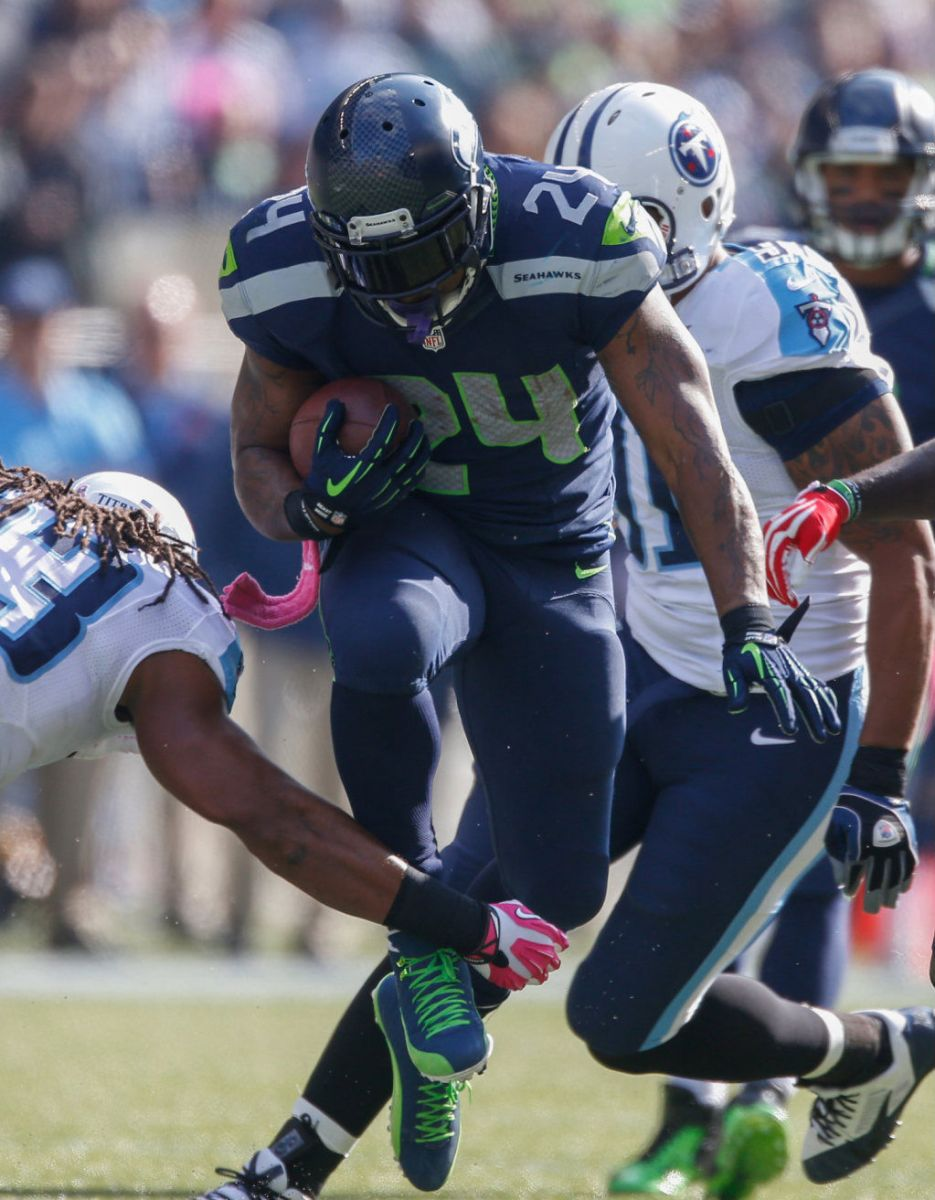 Marshawn Lynch Wears Air Jordan 12 XII PE Cleats (6)