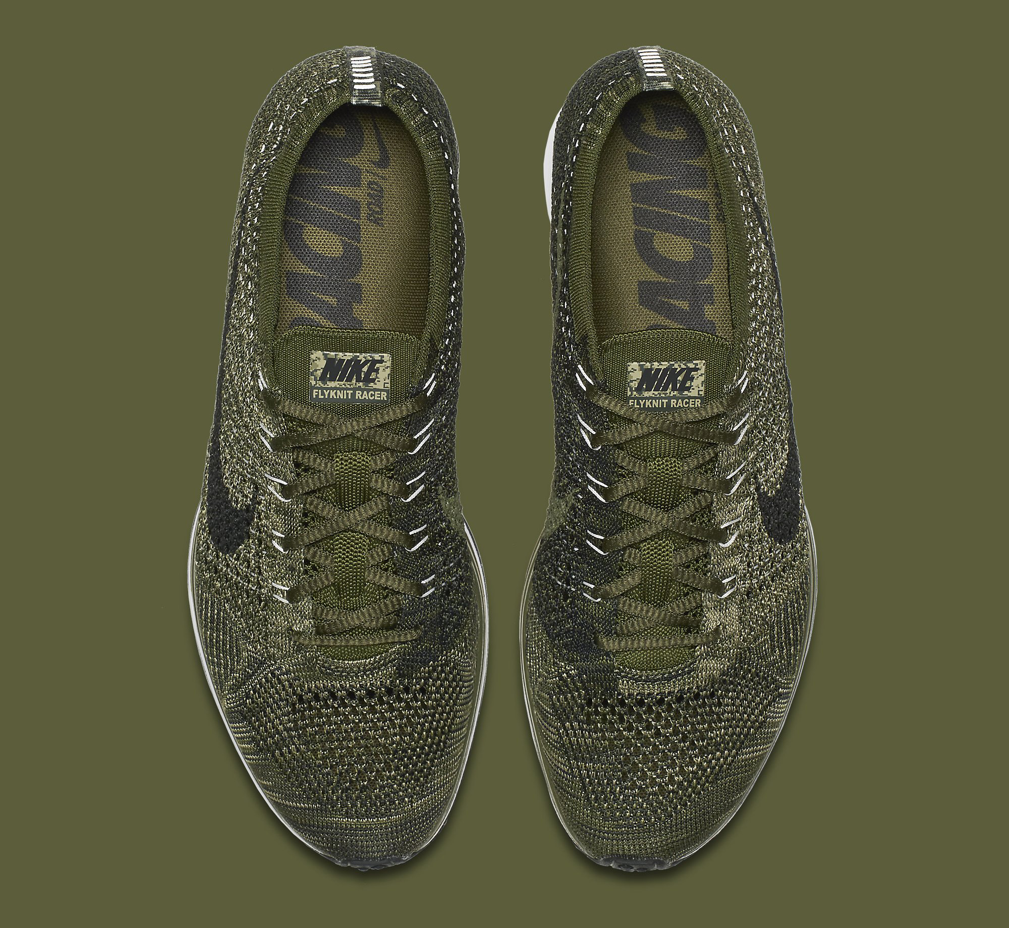 separation shoes f7841 c5b71 Image via Nike Nike Flyknit Racer Green Camo 862713-300 Top