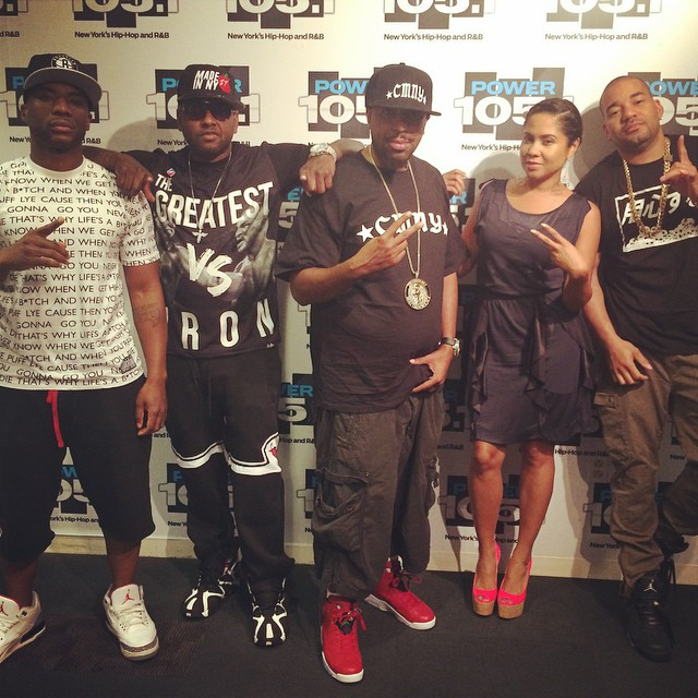 DJ Envy wearing Air Jordan 3Lab5; Charlamagne wearing Air Jordan III 3 Cement; Noreaga wearing Air Jordan VI 6 Spizike; Capone wearing Reebok Kamikaze