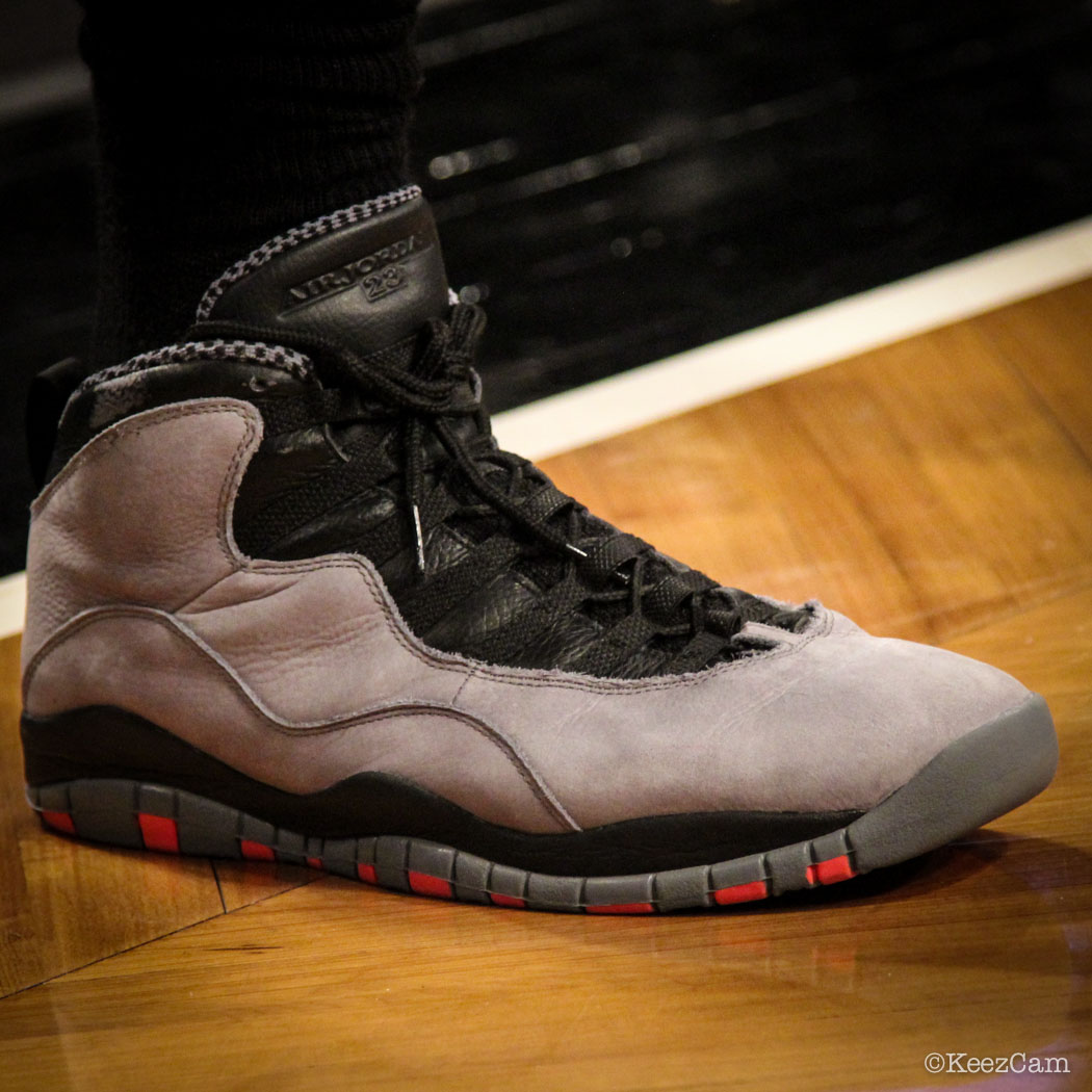 Amir Johnson wearing Air Jordan 10 Retro Cool Grey