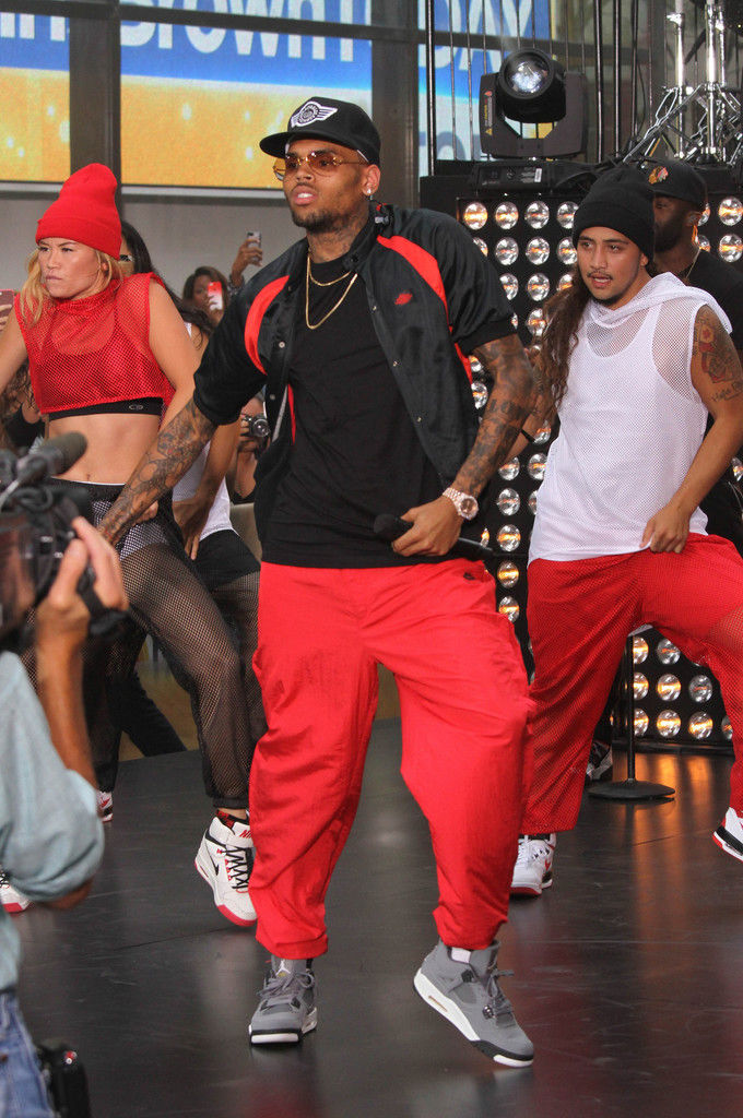 Chris Brown Wearing Cool Grey Air Jordan IV 4 Retro (1)