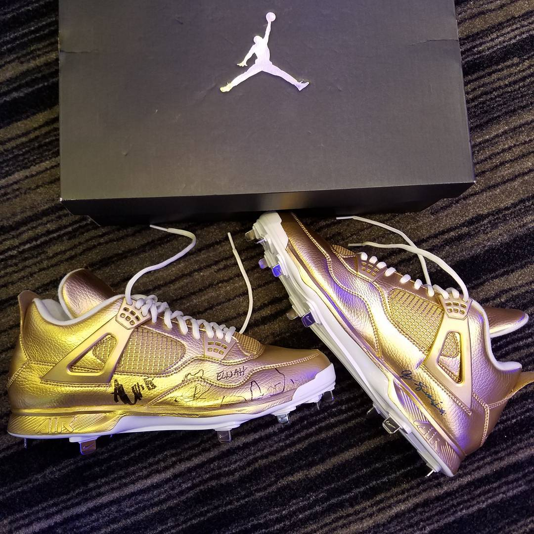 Gold Air Jordan 4 Cleats Pediatric Cancer C.C. Sabathia