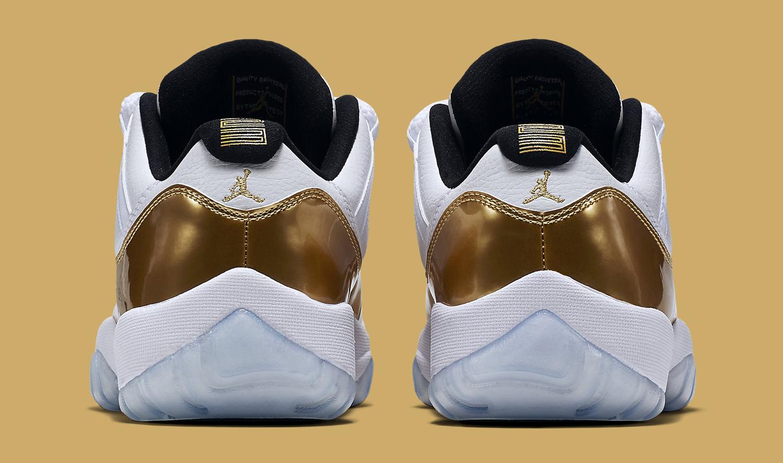 Gold Jordan 11 Low Heel