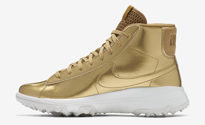 Gold Nike Blazer Golf Shoe Side