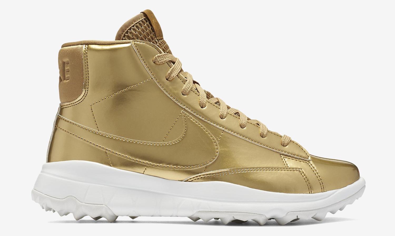 Gold Nike Blazer Golf Shoe Profile