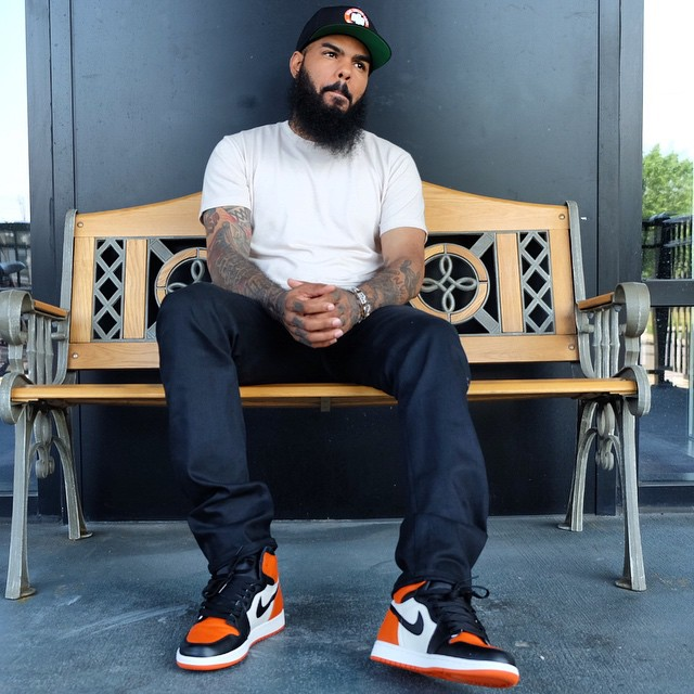 0f70f632c940 Stalley wearing the  Shattered Backboard  Air Jordan 1