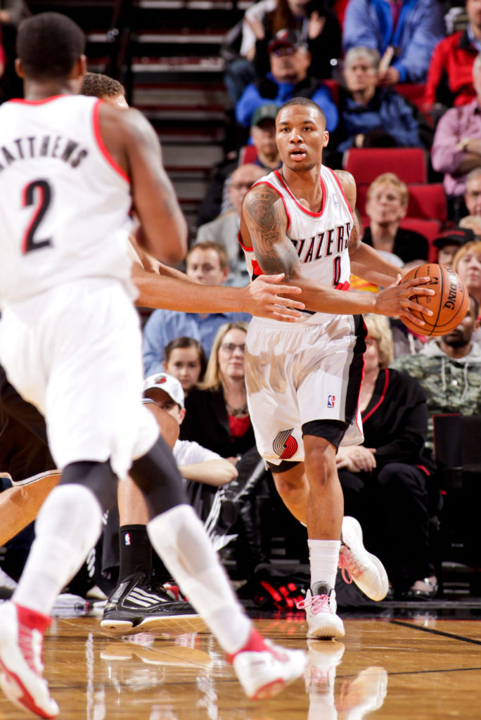 Damian Lillard wearing adidas Rose 3.5 Fan Design
