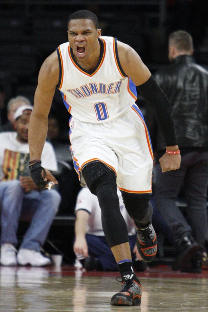 Russell Westbrook wearing Air Jordan XX9 Black Elephant / Orange PE (1)