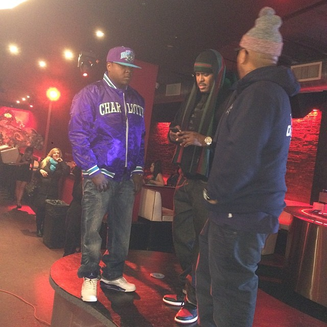 Jadakiss wearing Air Jordan 5 Grape; Sheek Louch wearing Air Jordan 1 Black/Red