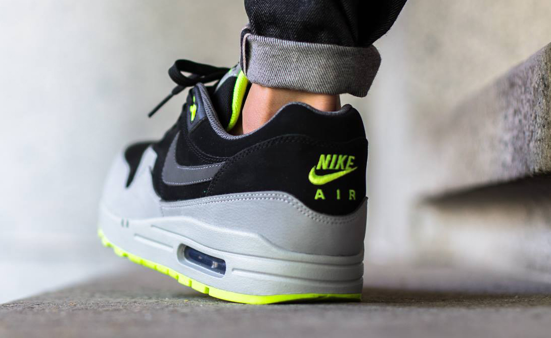 brand new 6b3db 0c5a3 Nike Air Max 1 Essential Color  Black Dark Grey-Silver-Volt Style     654466-007