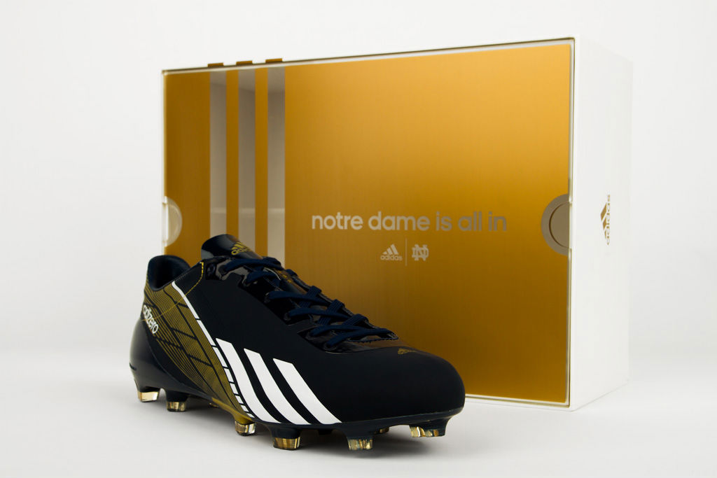 83ac2c98916 Notre Dame To Debut Custom adidas adizero 5-Star 2.0 Cleats In BCS ...