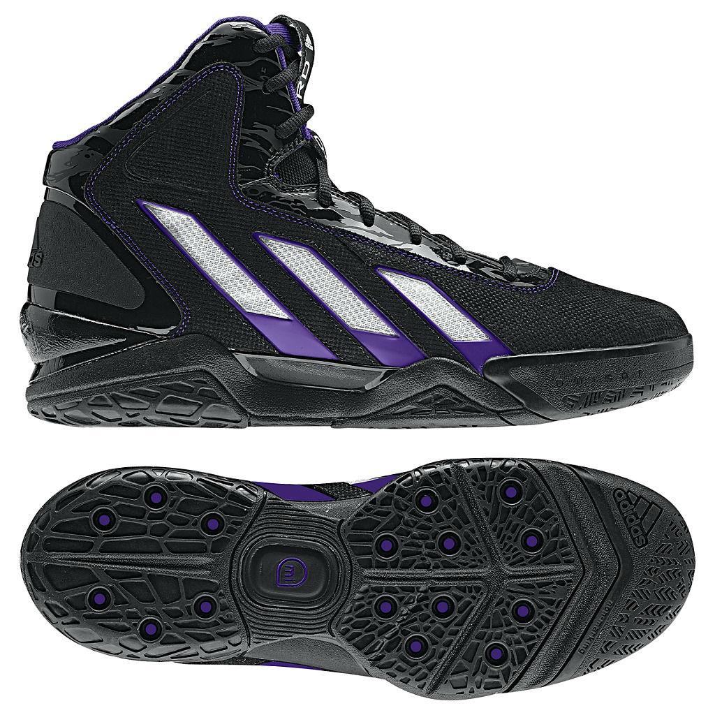new style 858c6 e2744 adidas adiPower Howard 3 Black Running White Purple Lakers G47367
