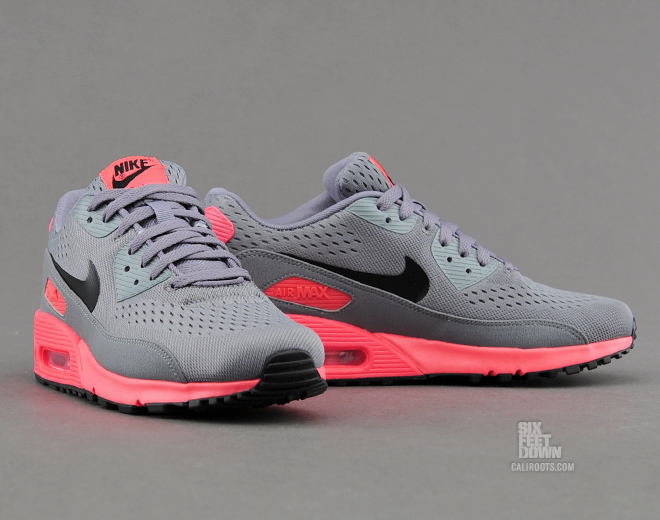 The Nike Air Max 90 PRM CMFT EM in Cool Grey Black Atomic Red is available now at Caliroots.
