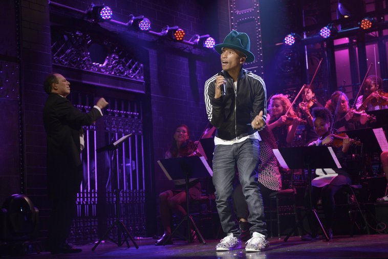 Pharrell SNL performance in adidas Stan Smith Swarovski custom