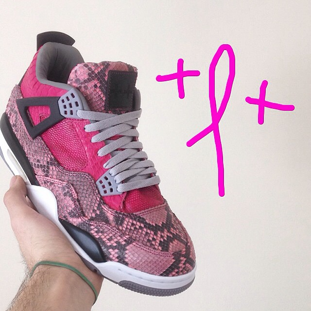 Air Jordan 4 'Pink Snakeskin' for Breast Cancer Awareness by JBF Customs