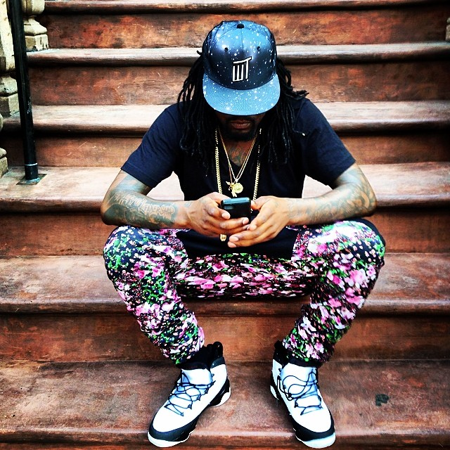 Wale wearing Air Jordan IX 9 Retro White/Black