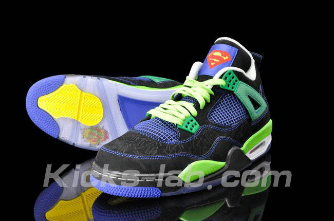 Air Jordan 4 IV Doernbecher Superman Black Old Royal Electric Green White 308497-015 H