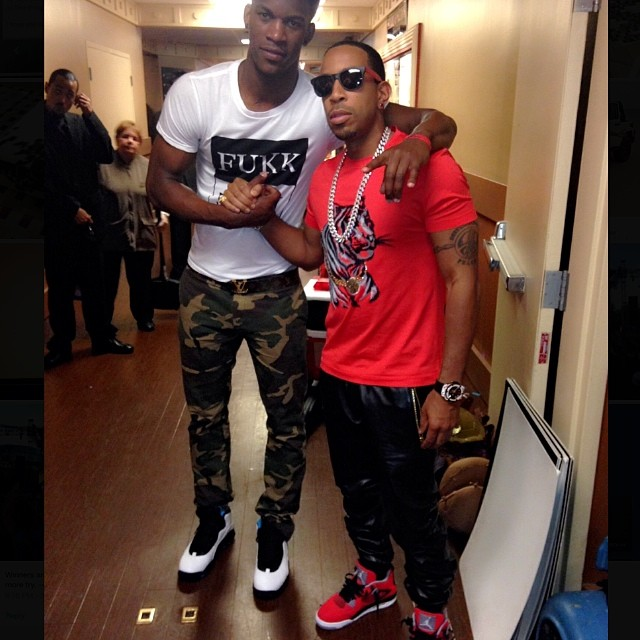 Ludacris wearing Air Jordan IV 4 Toro; Jimmy Butler wearing Air Jordan X 10 Powder