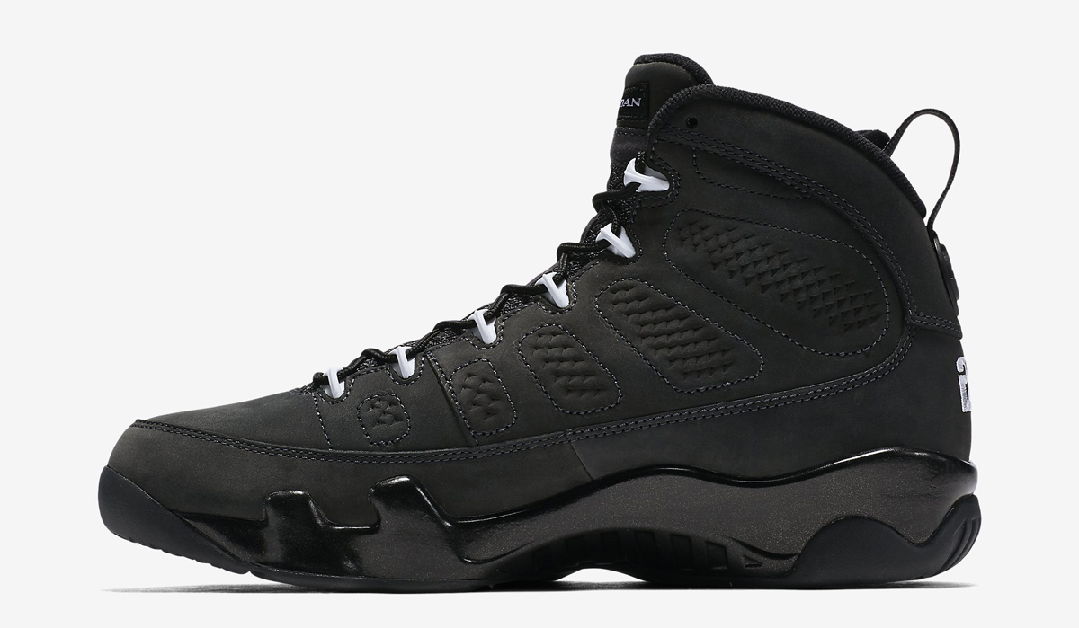 black and white jordan 9