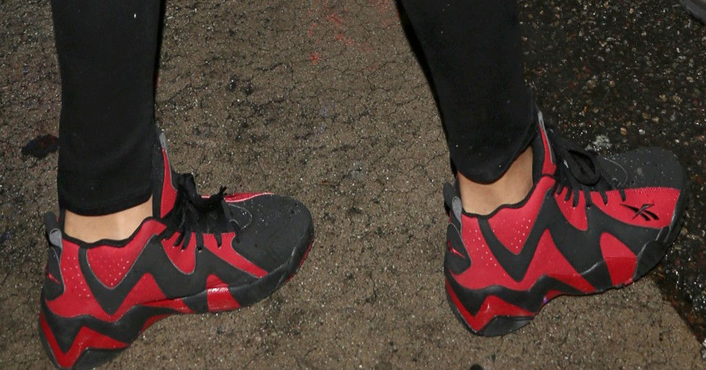 Rihanna wears Reebok Kamikaze II Black/Red (5)