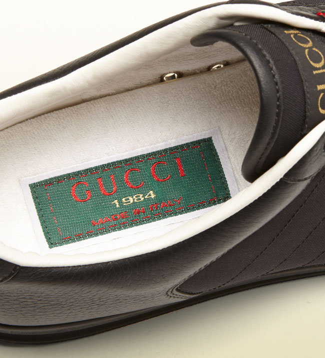 gucci 1984 sneakers. while the all-white edition has already sold out, black, as well white and green colorways are still available at gucci.com, retail for $495. gucci 1984 sneakers o