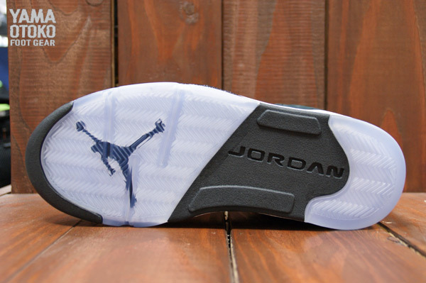 Air Jordan 5 Retro in Black Cool Grey and White outsole