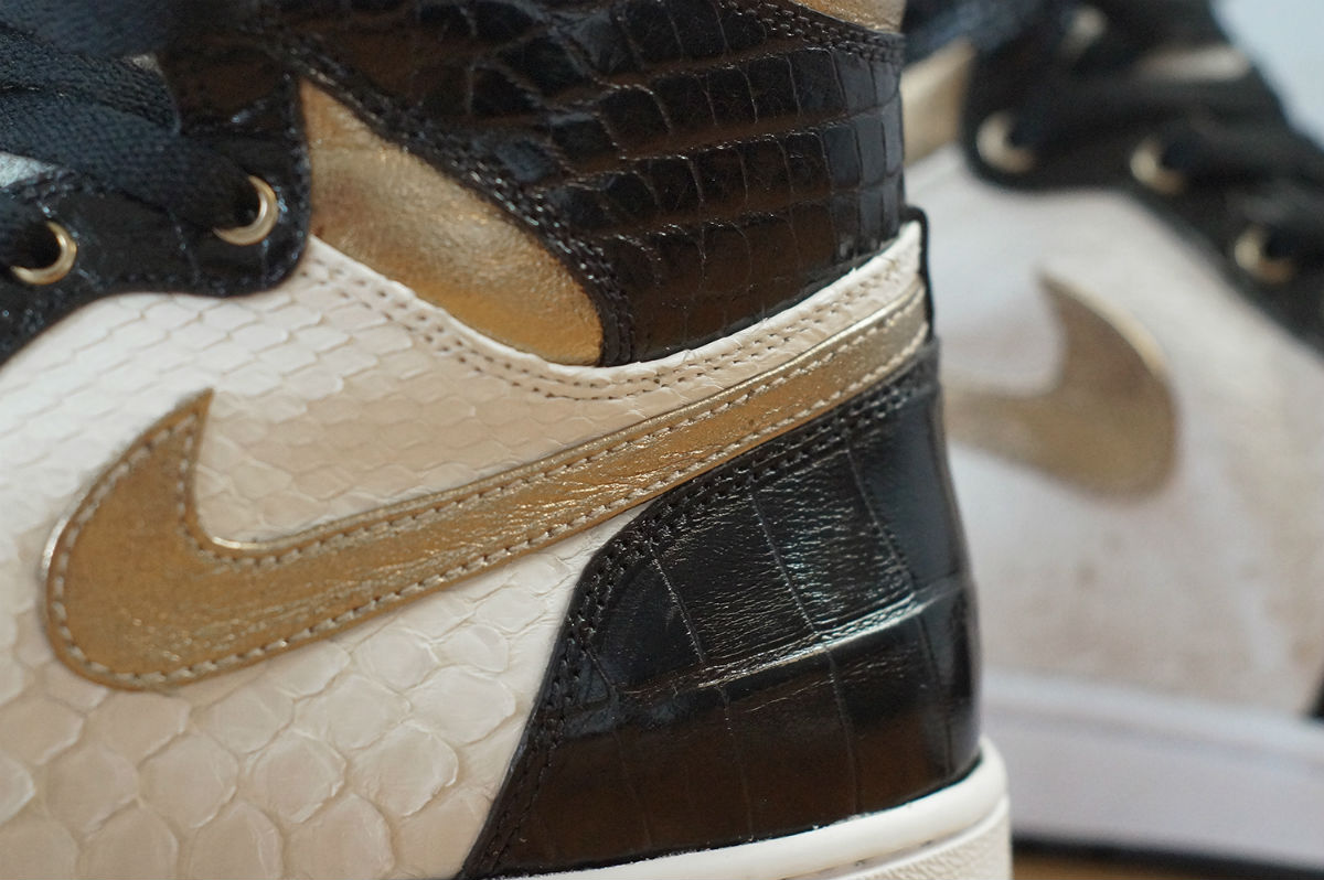 Air Jordan 1 White Python Black Croc Gold Leather by JBF Customs Swoosh