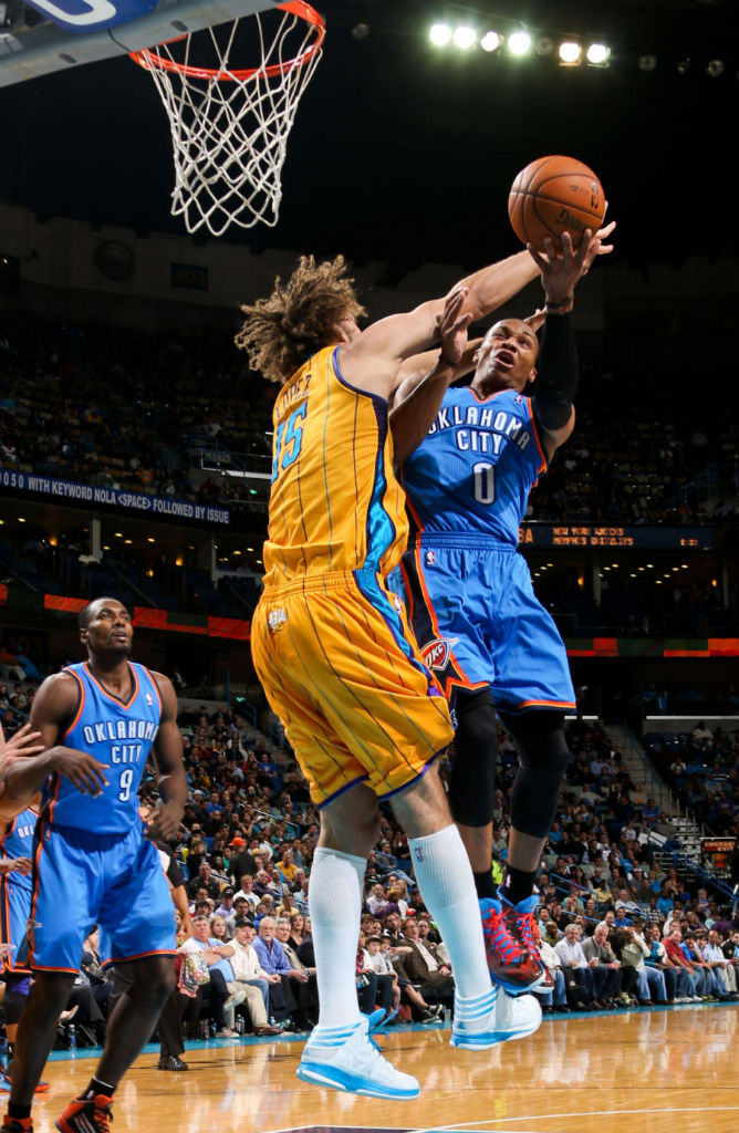 Robin Lopez wearing adidas Crazy Shadow White Teal