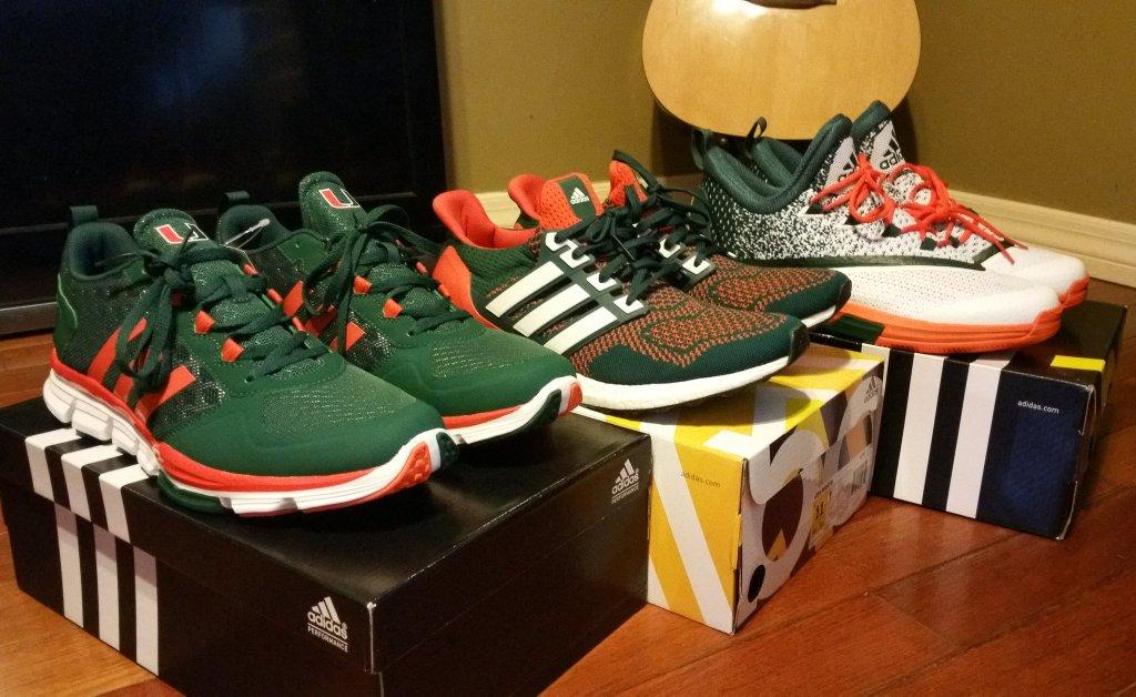 new style 7ba7b aa4a6 Miami Hurricanes adidas Sneakers
