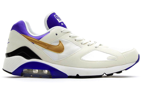 Nike Air 180 in White Metallic Gold and Bright Concord profile