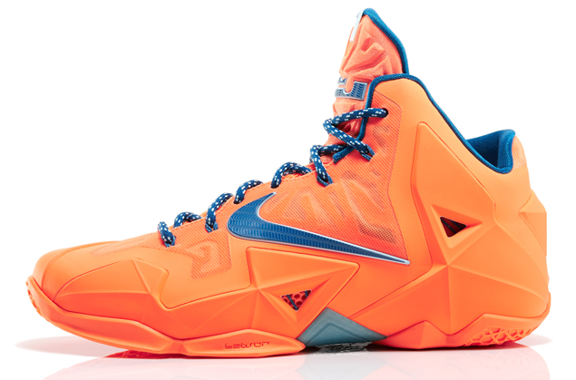 Nike LeBron 11 in Atomic Orange Green Abyss and Glacier Ice profile