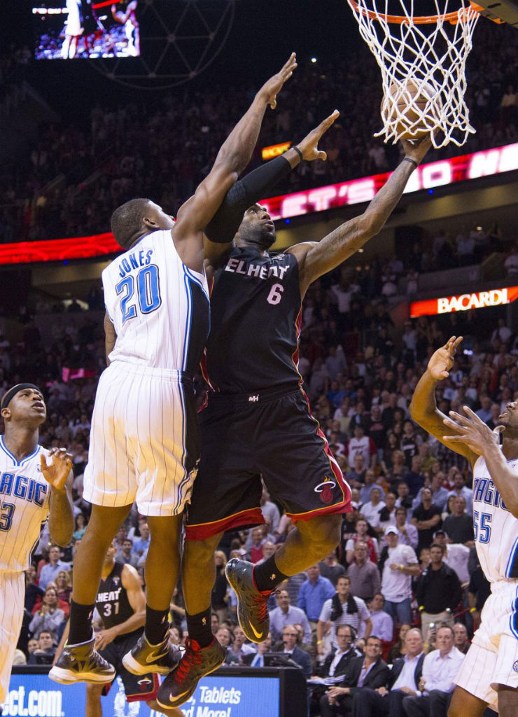 Dequan Jones wearing Nike LeBron X Prism; LeBron James wearing Nike LeBron X PE