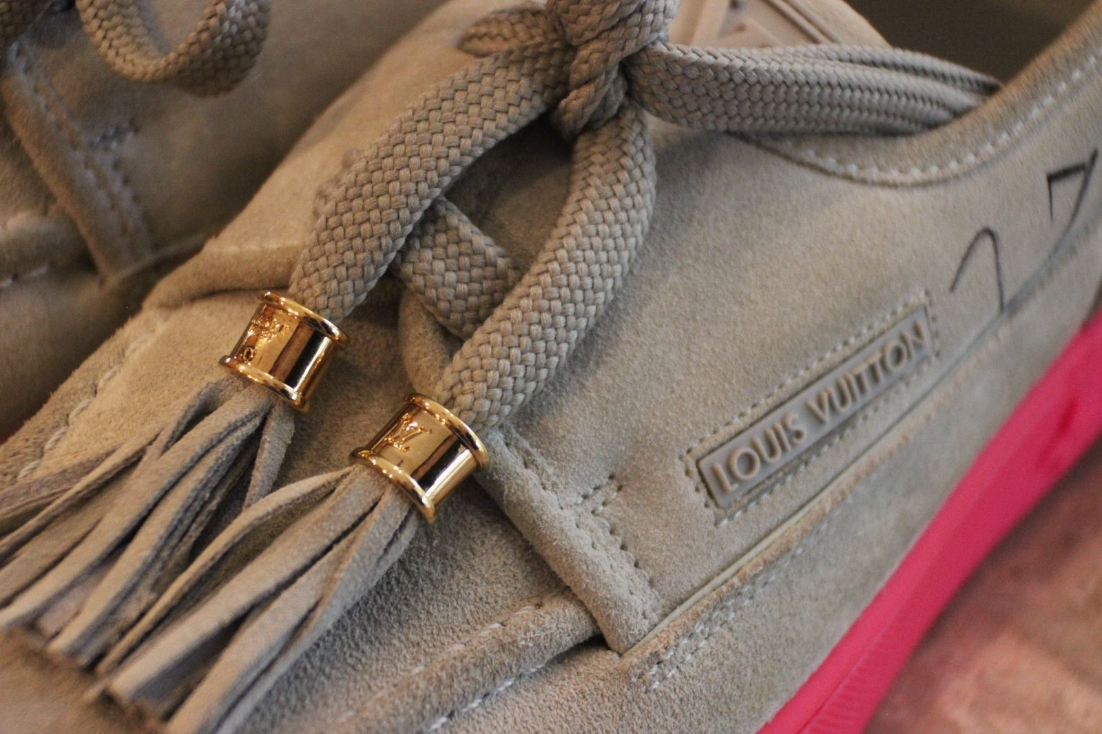 2fa792360f95 Kids Selling Kanye West Signed Louis Vuitton Hudson Sneakers Laces
