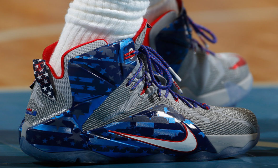 LeBron James wearing Nike LeBron XII 12 Veteran's Day PE on November 7, 2014