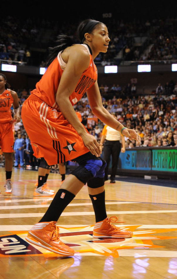 Candace Parker wearing adidas adizero Crazy Light 3 Orange