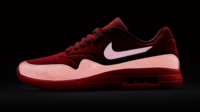 brand new 58f13 a989d  Gym Red  Nike Air Max 1 Ultra Moires with Reflective Accents
