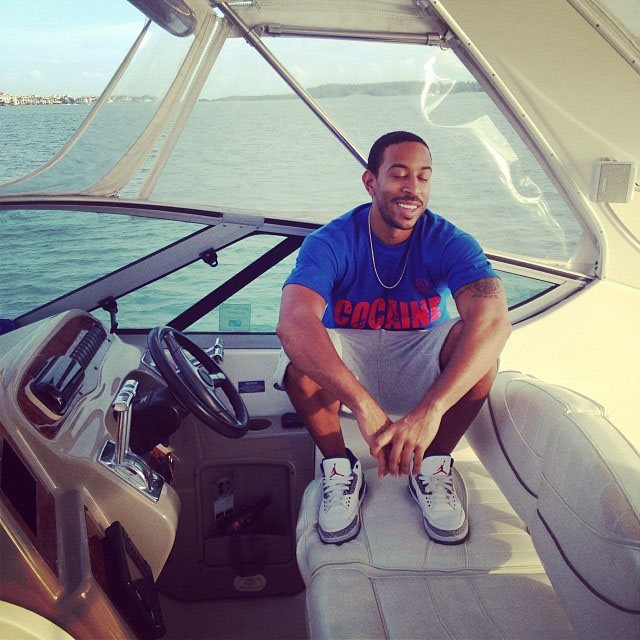 Ludacris wearing Air Jordan 3 True Blue